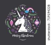 christmas card  poster  unicorn ... | Shutterstock .eps vector #719194228