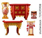 set of ornate furniture in... | Shutterstock .eps vector #719195908