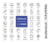 line icons set. workplace pack. ... | Shutterstock .eps vector #719195983