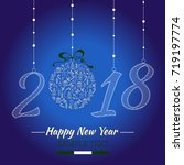 happy new year card. the year... | Shutterstock .eps vector #719197774