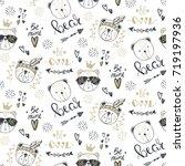 vector fashion bear seamless... | Shutterstock .eps vector #719197936