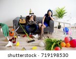 hangover after a party | Shutterstock . vector #719198530