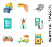 street trade icons set. cartoon ... | Shutterstock .eps vector #719203090