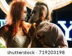 halloween. newlyweds. the... | Shutterstock . vector #719203198