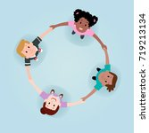 happy children forming a circle | Shutterstock .eps vector #719213134