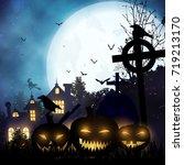 halloween landscape.  raster... | Shutterstock . vector #719213170