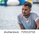 a young man take a relax at the ... | Shutterstock . vector #719213710