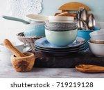 ceramic and enamel crockery... | Shutterstock . vector #719219128