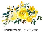 yellow watercolor floral... | Shutterstock . vector #719219704