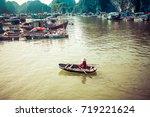 traditonal vietnamese boats and ... | Shutterstock . vector #719221624