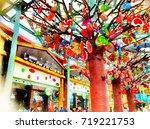 candy shop on sentosa island ... | Shutterstock . vector #719221753
