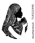 beautiful african woman with... | Shutterstock .eps vector #719221990