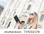 pretty teenager tourist with... | Shutterstock . vector #719232178