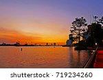 evening sunset at chao phraya... | Shutterstock . vector #719234260