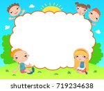 many kids around the banner... | Shutterstock .eps vector #719234638