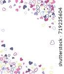 flying hearts frame vector... | Shutterstock .eps vector #719235604