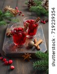 cranberry drink on wooden... | Shutterstock . vector #719239354