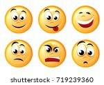 round icons with emotions.... | Shutterstock .eps vector #719239360