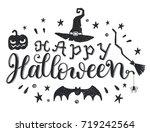 happy halloween phrase   vector ... | Shutterstock .eps vector #719242564