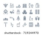 vector set of colored 24 linear ... | Shutterstock .eps vector #719244970