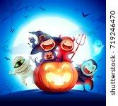 halloween kids costume party.... | Shutterstock .eps vector #719246470