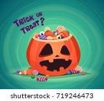 trick or treat. halloween... | Shutterstock .eps vector #719246473