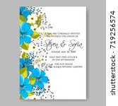 blue anemone wedding invitation ... | Shutterstock .eps vector #719256574