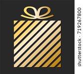 golden gift box from paper... | Shutterstock .eps vector #719267800