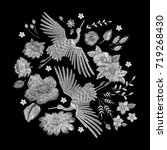 white lace. crane bird  flowers ... | Shutterstock .eps vector #719268430