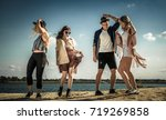 group of friends partying and... | Shutterstock . vector #719269858