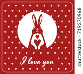 love card with bunny and hearts   Shutterstock .eps vector #719270968