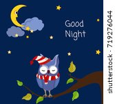 good night. card with cute... | Shutterstock .eps vector #719276044