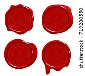 red wax seal stamp sign... | Shutterstock .eps vector #719280550