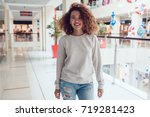 curly haired girl with freckles ... | Shutterstock . vector #719281423