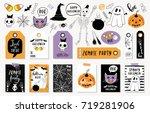 halloween set with cards ...   Shutterstock .eps vector #719281906