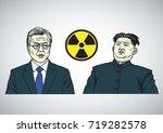 moon jae in vs kim jong un....   Shutterstock .eps vector #719282578