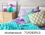 lilac accent in modern interior.... | Shutterstock . vector #719283913
