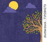 full moon night background.... | Shutterstock .eps vector #719284273