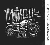 vintage motorcycle hand drawn... | Shutterstock .eps vector #719286310