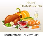 thanksgiving dinner | Shutterstock .eps vector #719294284
