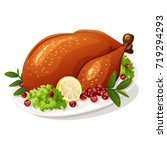 roasted thanksgiving turkey | Shutterstock .eps vector #719294293