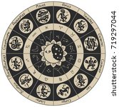 vector zodiac circle with icons ... | Shutterstock .eps vector #719297044