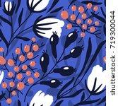 vector floral seamless pattern... | Shutterstock .eps vector #719300044