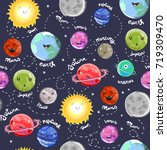 hand drawn cute solar system... | Shutterstock .eps vector #719309470