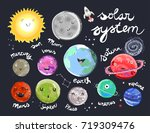 hand drawn solar system with... | Shutterstock .eps vector #719309476