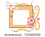 flowers with card border   Shutterstock .eps vector #719309530