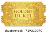 gold ticket  golden token  tear ... | Shutterstock .eps vector #719310070