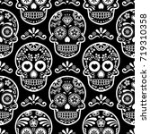 Stock vector mexican sugar skull vector seamless pattern on black halloween white candy skulls background day 719310358