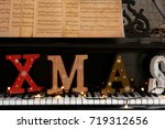 piano keyboard with word xmas... | Shutterstock . vector #719312656