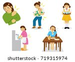 woman's body pain illustrations ... | Shutterstock .eps vector #719315974